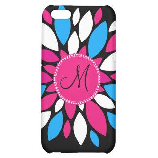 Custom Monogram Initial Hot Pink Teal Blue Flower iPhone 5C Cover