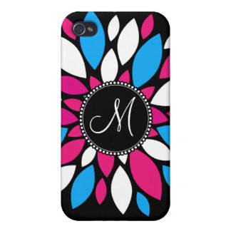 Custom Monogram Initial Hot Pink Teal Blue Flower iPhone 4/4S Case