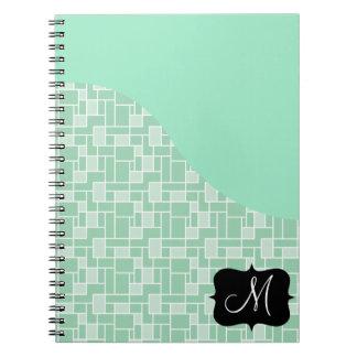 Custom Monogram Initial Mint Green Tile Pattern Notebook
