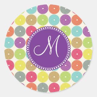 Custom Monogram Initial Multi Colored Circles Classic Round Sticker