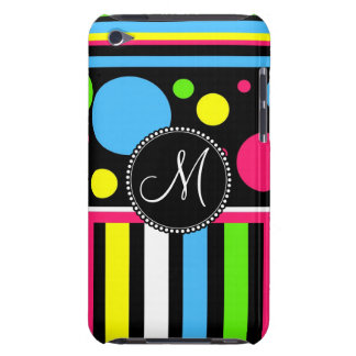 Custom Monogram Initial Neon Stripes Polka Dots Case-Mate iPod Touch Case