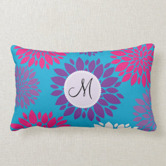 Custom Monogram Initial Pink Purple Flower on Teal Lumbar Pillow