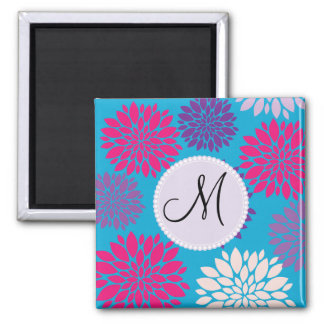 Custom Monogram Initial Pink Purple Flower on Teal Magnet