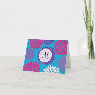 Custom Monogram Initial Pink Purple Flower on Teal Note Card