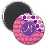 Custom Monogram Initial Pink Purple Polka Dots 2 Inch Round Magnet