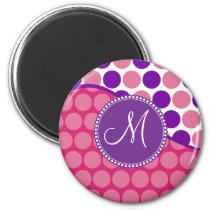 Custom Monogram Initial Pink Purple Polka Dots Magnet