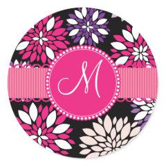 Custom Monogram Initial Purple Pink Flower Art Stickers