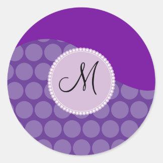 Custom Monogram Initial Purple Polka Dot Wave Classic Round Sticker