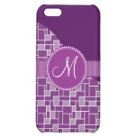 Custom Monogram Initial Purple Tile Wave Pattern Case For iPhone 5C