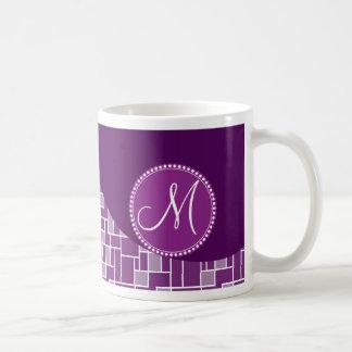 Custom Monogram Initial Purple Wave Tiles Pattern Coffee Mug