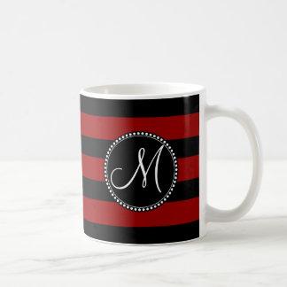 Custom Monogram Initial Red Black Stripes Coffee Mug