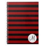 Custom Monogram Initial Red Black Stripes Journal