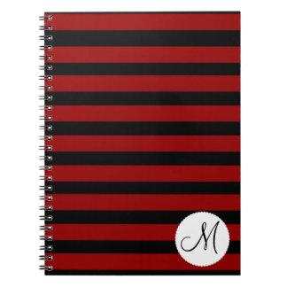 Custom Monogram Initial Red Black Stripes Spiral Notebook