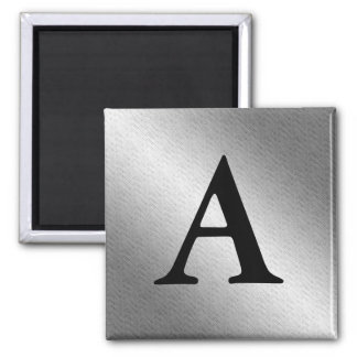 Custom Monogram Initial Silver Metal Look Magnet