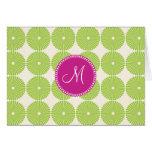 Custom Monogram Initial Spring Green Circles Cards