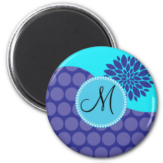 Custom Monogram Initial Teal Purple Polka Dots 2 Inch Round Magnet