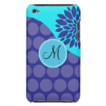 Custom Monogram Initial Teal Purple Polka Dots iPod Touch Cases