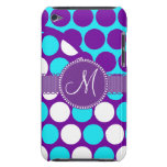 Custom Monogram Initial Teal Purple Polka Dots Barely There iPod Cases