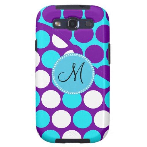 Custom Monogram Initial Teal Purple Polka Dots Samsung Galaxy S3 Cover