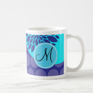 Custom Monogram Initial Teal Purple Polka Dots Classic White Coffee Mug