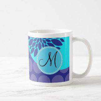Custom Monogram Initial Teal Purple Polka Dots Coffee Mug