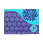 Custom Monogram Initial Teal Purple Polka Dots iPad Mini Case