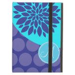 Custom Monogram Initial Teal Purple Polka Dots iPad Cover