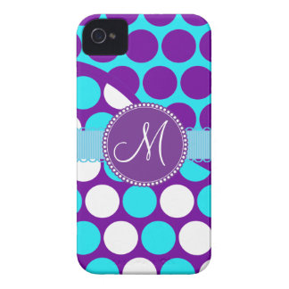 Custom Monogram Initial Teal Purple Polka Dots iPhone 4 Cover