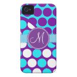 Custom Monogram Initial Teal Purple Polka Dots iPhone 4 Covers
