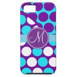 Custom Monogram Initial Teal Purple Polka Dots iPhone SE/5/5s Case