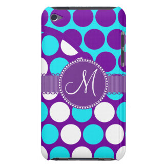 Custom Monogram Initial Teal Purple Polka Dots iPod Touch Cover