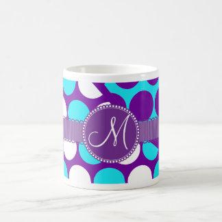 Custom Monogram Initial Teal Purple Polka Dots Coffee Mugs
