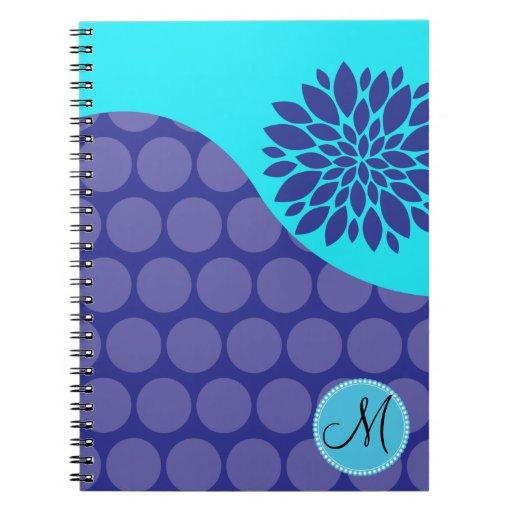 Custom Monogram Initial Teal Purple Polka Dots Journal
