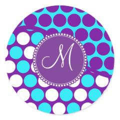 Custom Monogram Initial Teal Purple Polka Dots Round Stickers