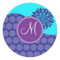 Custom Monogram Initial Teal Purple Polka Dots Stickers