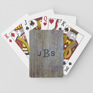 Custom Monogram Initials | Rustic Wood Distressed Playing Cards