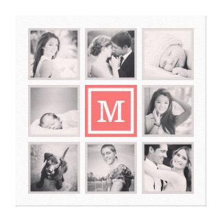 Custom Monogram Instagram Photo Collage Canvas Print