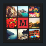 """Custom Monogram Instagram Photo Collage Canvas Print<br><div class=""""desc"""">Add 8 of your favorite Instagram photos to create a beautiful unique photo collage wrapped canvas print personalized with your monogram initial in the middle. Click Customize It to move photos and personalize with your own text to create a unique one of a kind design. Great gift for family and...</div>"""