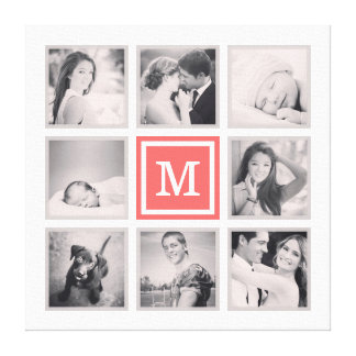 Custom Monogram Instagram Photo Collage Canvas Print