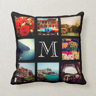 Custom Monogram Instagram Photo Collage Throw Pillow at Zazzle