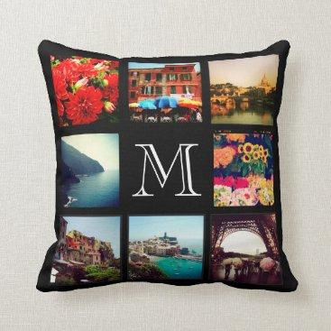 jenniferstuartdesign Custom Monogram Instagram Photo Collage Throw Pillow