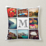 Custom Monogram Instagram Photo Collage Throw Pillows