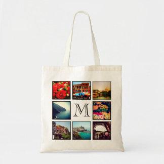 Custom Monogram Instagram Photo Collage Tote Bags