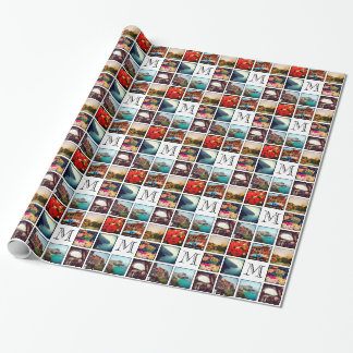 Custom Monogram Instagram Photo Collage Wrapping Paper