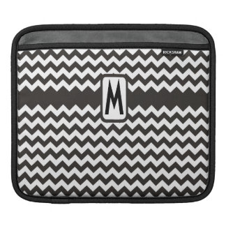 Custom Monogram iPad Sleeve: Black, White Chevrons Sleeve For iPads