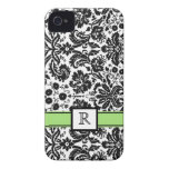 Custom Monogram iPhone 4 Lime Black Floral Damask iPhone 4 Covers