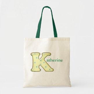 Custom Monogram K Name tote bag