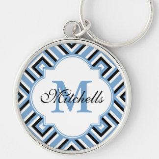 Custom Monogram Keychain Modern Black White Blue