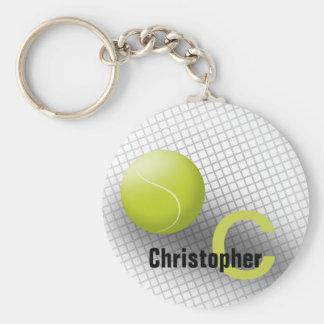 Custom monogram keychain Tennis ball