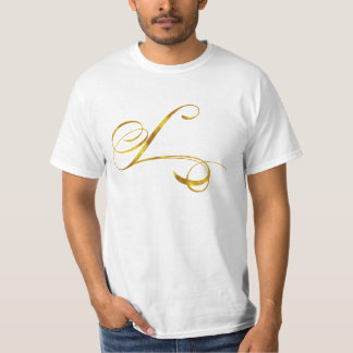 Custom Monogram L Faux Gold Foil Monograms Initial T-Shirt